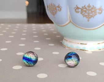 Rainbow Post Earrings with Dichroic Glass on Sterling Silver Posts Multicolor