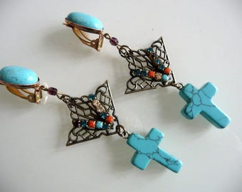 Ethno chic clip earrings