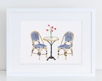 Vintage French Bistro Set with Vase of Tulips Fine Art Watercolor Print