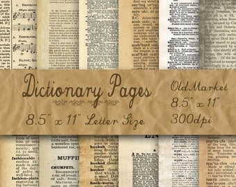 SALE- Blank Dictionary Pages Digital Paper - Old Paper Textures - 12 Designs - 8.5in x 11in - Commercial Use - INSTANT DOWNLOAD