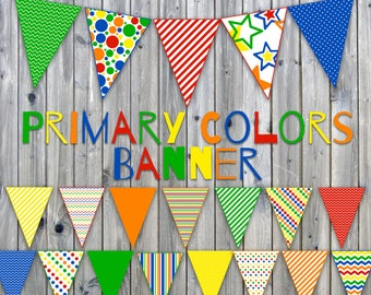 Primary Colors Printable Banner - Includes 3 sizes - Printable Banner - Printable Bunting - Printable Garland - Instant Download