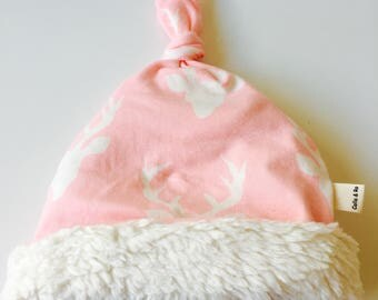 Organic Knotted baby hat  0-3 months