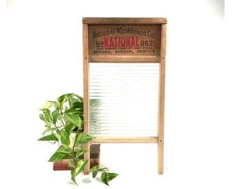 Vintage Wood Glass Washboard / National Washboard Co. / No 862 / White Hen / Rustic Industrial Decor / Wall Hanging Art / 1940s