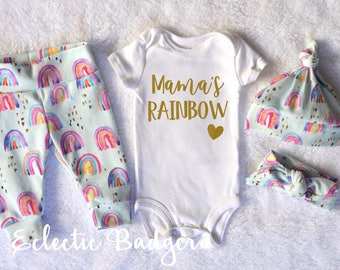 Rainbow baby girl outfit Coming home outfit Baby girl clothes Newborn Organic baby clothes Baby girl gift Newborn outfit Going home outfit
