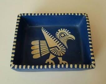 Mexican Folk Art Box, Aztec Eagle Blue Trinket Box Terra Cotta Clay, Eagle Warrior Jewelry Box Tray Native Tribal Symbol Spirit Animal Totem