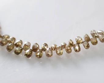 10 ct AAA Champagne Diamond Tear Drops Faceted,1.5x2 to 2x3 mm ,87 pc in a Strand - Real Champagne DIAMOND Drops Faceted, Rare Diamonds