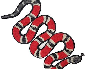 Red Embroidered BIG SNAKE Patch Applique, Snake Badge for Fashion DIY