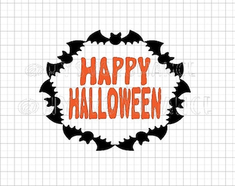 Happy Halloween - Bat Wreath SVG -  Cutting File - Cricut - Cameo