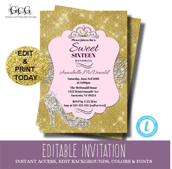 Sweet 16 Invitation instant download, Sweet Sixteen Invitation ...
