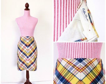 1950s VINTAGE Skirt / Pencil Skirt / 50s skirt / Cotton / High Waisted / Chevron / Plaid