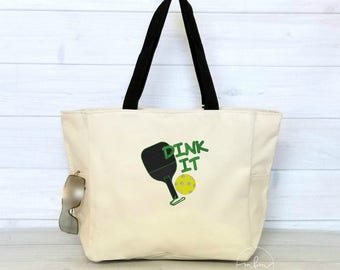 Pickleball Tote Bag With Zipper Top - Large Pickleball Tote - Gift for Pickleball Player - Dink it - Choose Colors