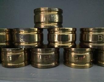 12 Vintage Brass Napkin Rings // Rustic Metal Napkin Rings // Monogrammed B Brass Napkin Rings