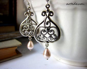 Antique Silver chandelier earrings with ivory teardropretro earrings vintage inspired bronze christmas gift for her