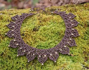 makrame necklace natural bohemian woman
