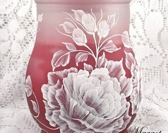 Red Glass Candle with Lid and Raised White Floral Design