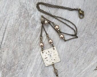 vintage watchface necklace