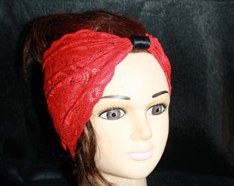 Red elastic lace headband