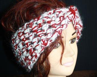 White and Burgundy mohair headband