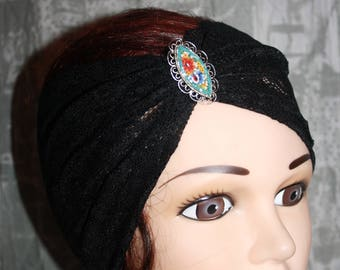 Black elastic lace headband