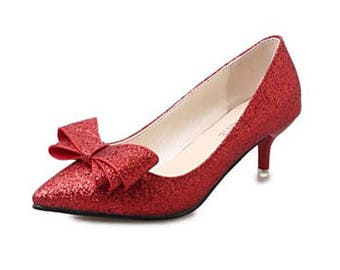 Glitter low Kitten Heel Luxury Gold Silver red Black Party Bow front christmas xmas party Pump shoes
