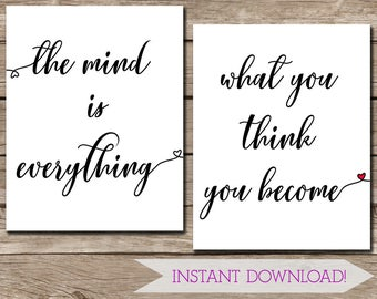 Buddhist Quote Wall Art - The Mind is Everything, What You Think You Become - 11x14 inches - Digital Download Printable Wall Art