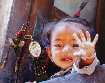 Indian style Bohemian earrings - earrings tribal Indian - hippie - elephant - ethnic Indian - earrings dissociated