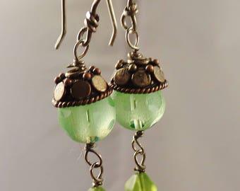 Vintage Green Bubble Glass Drop Earrings