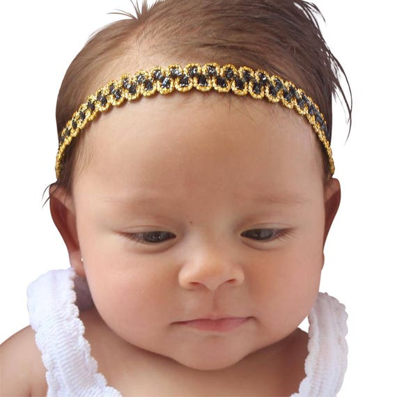 Black HeadbandBaby Headband,  Hair Accessories, Glitter Headband, Baby Girl Headband, Black and Gold Headband, Braided Baby Headband