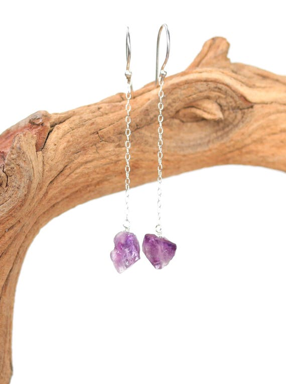 Silver amethyst earrings - amethyst drop earrings - silver chain earrings - dangle earrings - AMR1