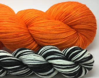 Handpainted merino nylon sock yarn with self striping mini skein- Orange is the New Black is a Riot