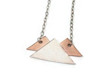 Mountain Necklace in Sterling Silver and Copper - READY TO SHIP