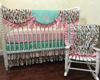 Girl Baby Bedding Set Brenna - Girl Crib Bedding, Tribal Crib Bedding, Pink and Mint Baby Bedding with Feathers and Arrows, 1 - 4 pieces