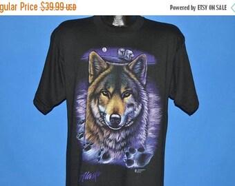 ON SALE 90s Alaska White Wolf Paw Print Deadstock t-shirt Large