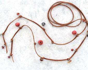 Beaded Lariat Necklace, Long Boho Wrap Necklace - Leather, Glass, Mixed Beads