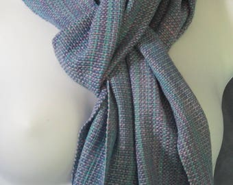 Summer - handwoven cotton and silk scarf