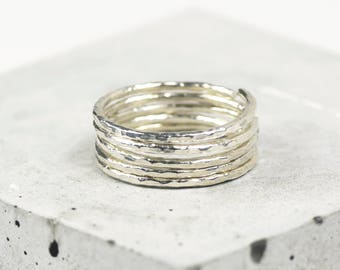 Sterling Silver Stacking Ring Set • Silver Hammered Rings • Sterling Silver Stackable Rings • Five Stacking Rings • Dainty Silver Ring Set