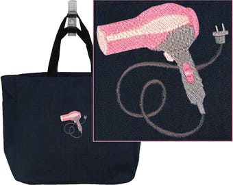 Hair Dryer Stylist Beauty Salon Bag + Free Name Monogram Custom Embroidered Essential Tote