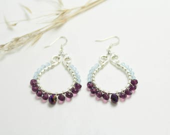 Plum, Pale Purple and Silver Tearhoop Earrings