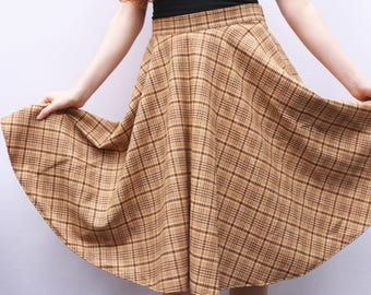 Checked Wool Brown and Beige Skirt UK size Medium 12-14 checked full skirt handmade by The Emperor's Old Clothes