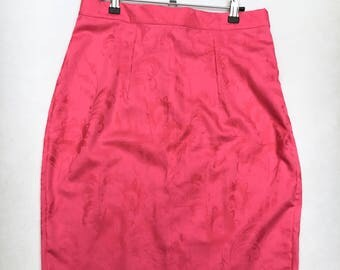 Hot Pink Pencil Skirt UK size 12-14 print floral cotton slim skirt handmade by The Emperor's Old Clothes