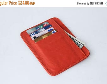 small wallet / card holder - Orange leather