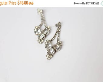 ON SALE 1960's Pierced Crystal Chandelier Earrings