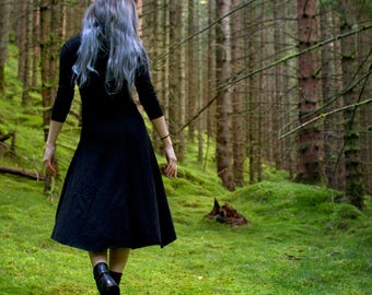 Black Dress, High Low Dress, Goth Dress, High Low Skirt, Black Midi Dress, Goth Midi Dress, Goth Business Casual, Modular Clothing
