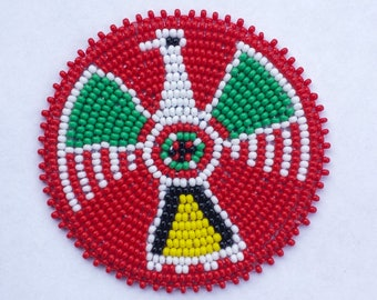 2 . 5 inch Thunderbird RED Beaded Rosette