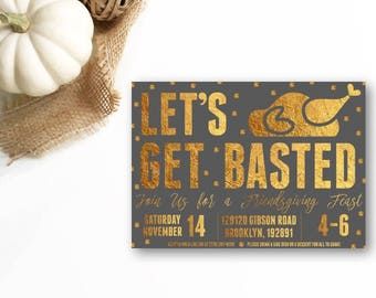 Let's Get Basted Invitation, Friendsgiving Feast Invitation, Thanksgiving Invitation, Thanksgiving Dinner Invitation, DIY or Printed