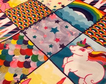 "Patchwork Unicorn One Size Blanket • Minky • 50 x 65"" • Pregnancy • Gift • Shower • 3-4 Week TT"