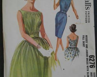 60s shirred dress pattern McCall's 6276 Size 12
