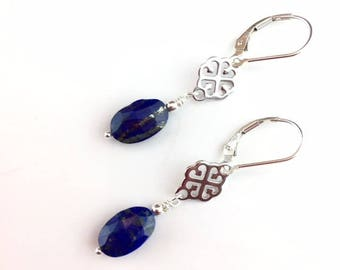 Lapis Earrings - Lapis Jewelry - Gemstone Jewelry - Gifts Under 50 - Blue Earrings - Gemstone Earrings - Gift for her - Lapis Drops