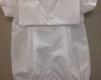 Sailor After-Christening Romper, Birthday Outfit for Baby Boy's