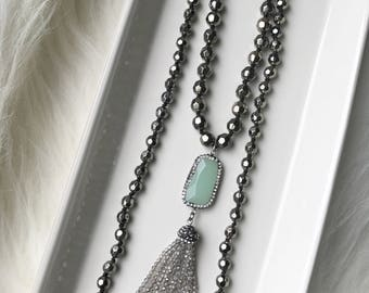 Green Aventurine Gemstone + Crystal Beaded Tassel Necklace >> long boho chic necklace layering modern trendy rocker chic edgy jewelry
